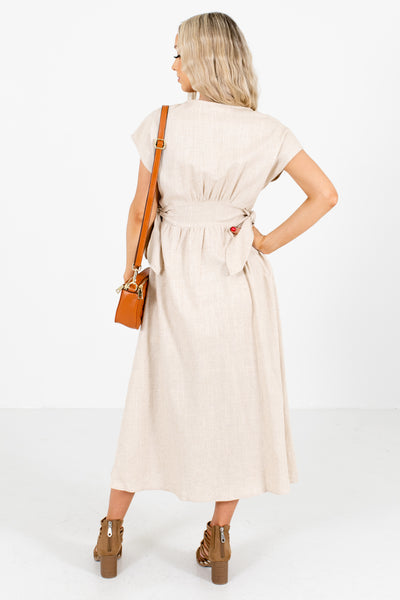 Women's Brown High-Quality Material Boutique Midi Dress