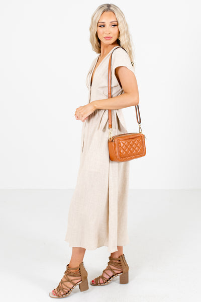 Women's Brown Cute and Comfortable Boutique Midi Dresses for Women