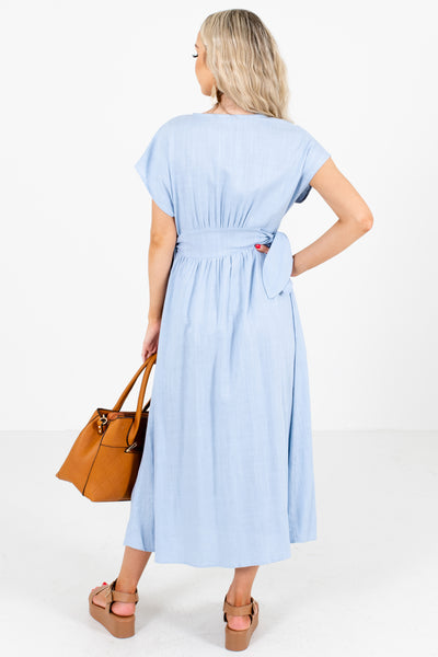 Women's Blue Self-Tie Accented Boutique Midi Dress