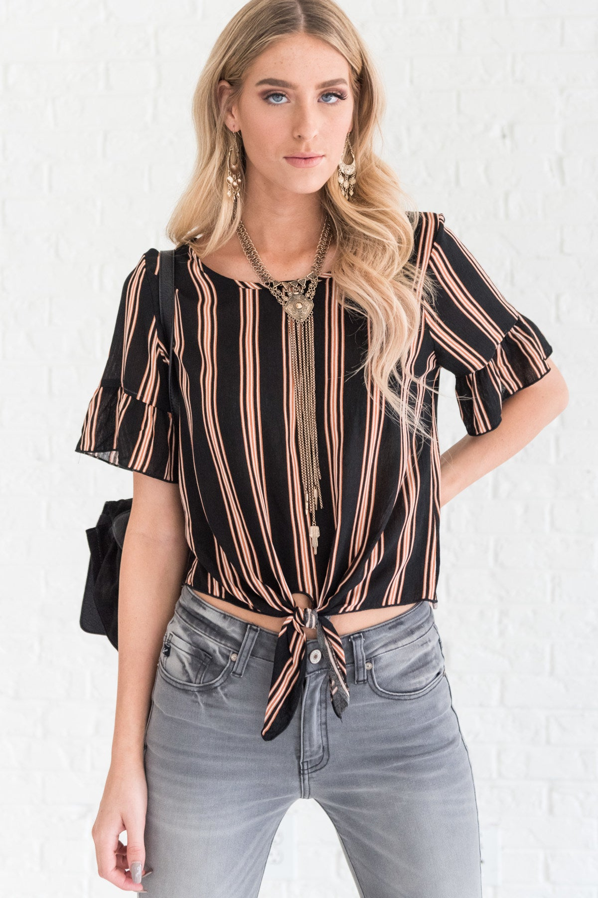 Black Striped Dressy Tops for Women