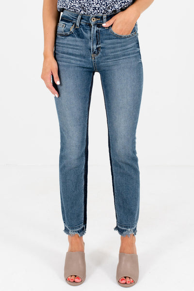 Medium Wash Denim Blue Frayed Hem Boutique Jeans for Women