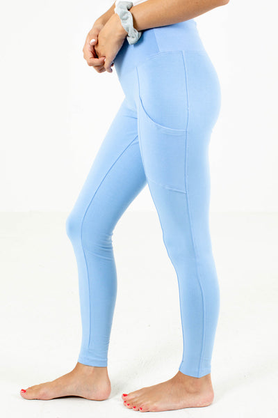 Blue High Waisted Boutique Leggings for Women