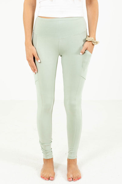 Sage Green Cute and Comfortable Boutique Leggings for Women