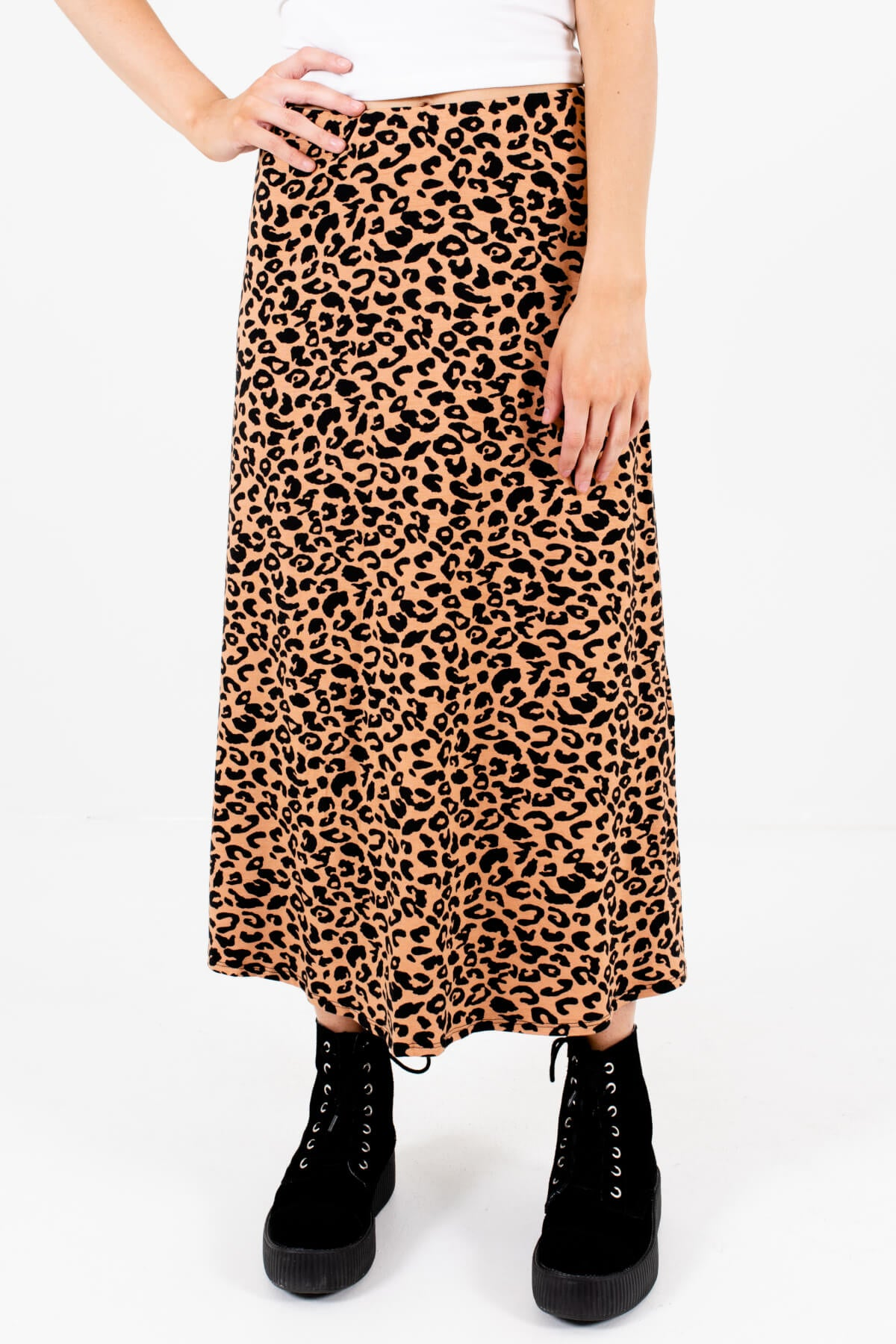 Brown and Black Leopard Print Pattern Boutique Midi Skirts for Women