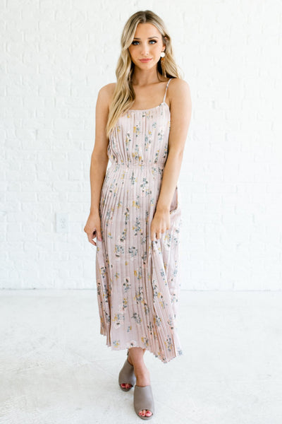 Blush Pink Floral Pleated Satin Midi Dresses Affordable Online Boutique