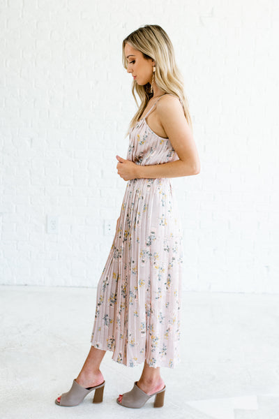Blush Pink Satin Pleated Floral Midi Dresses Affordable Online Boutique