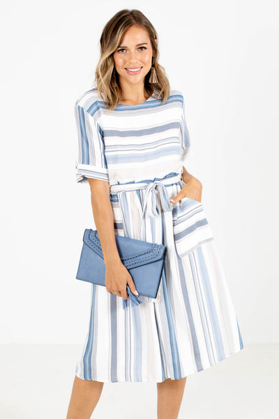 White and Blue Striped Patterned Boutique Knee-Length Dresses for Women