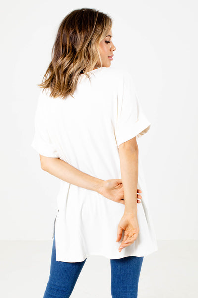Women's White Soft Boutique Tops