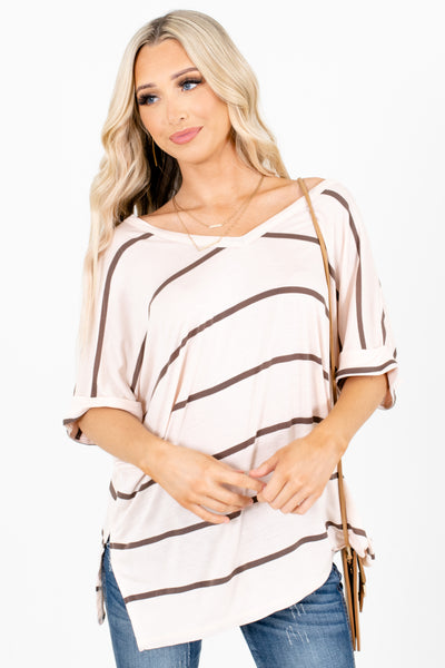 Women's Cream Cuffed Sleeve Boutique Tops