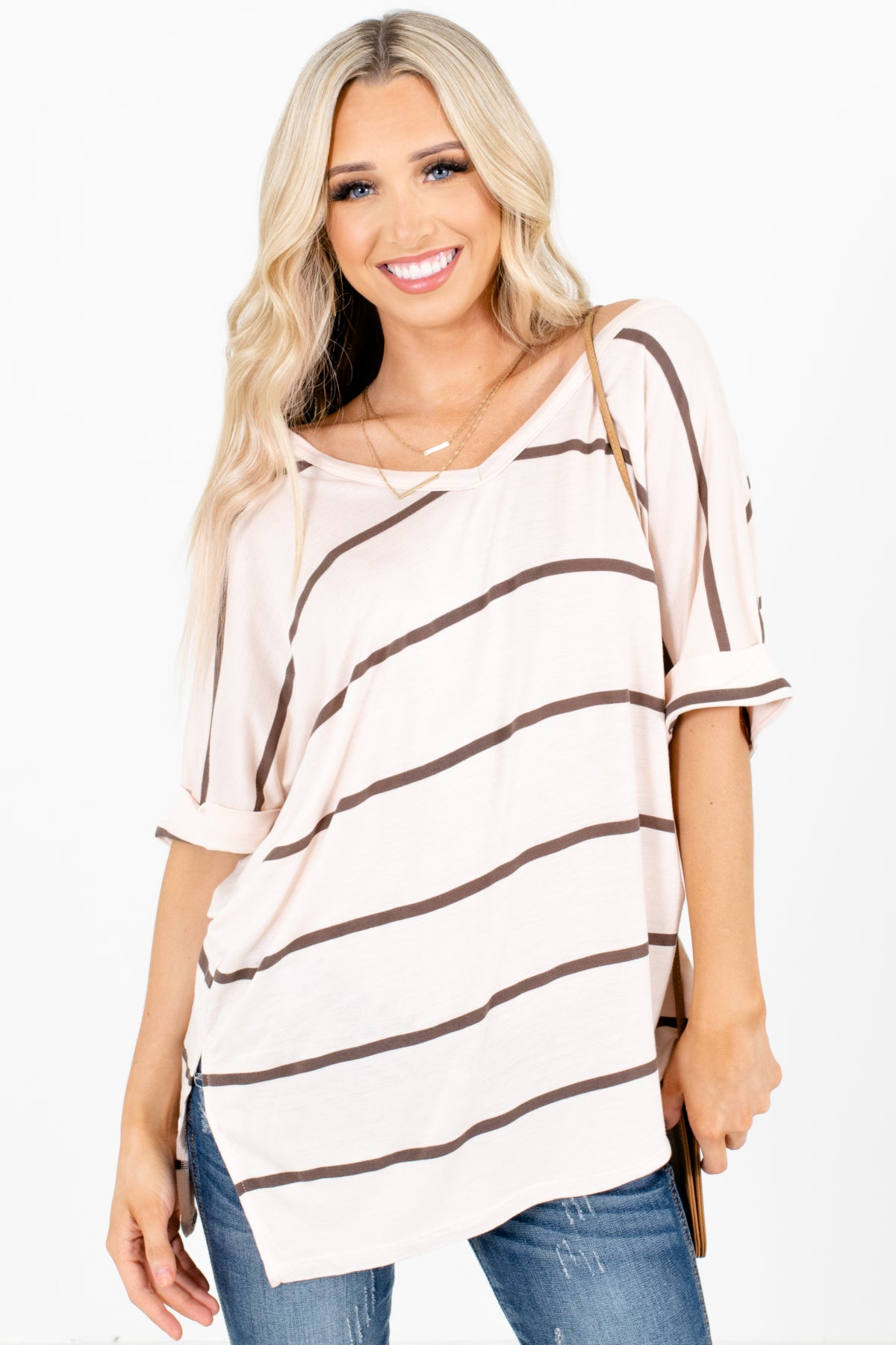 Cream and Brown Stripe Patterned Boutique Tops for Women