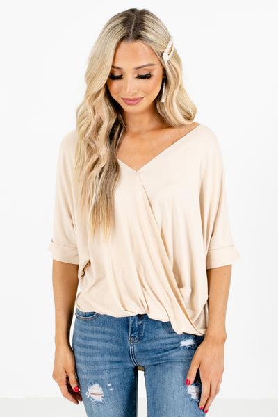 Beige Faux Wrap Style Boutique Blouses for Women