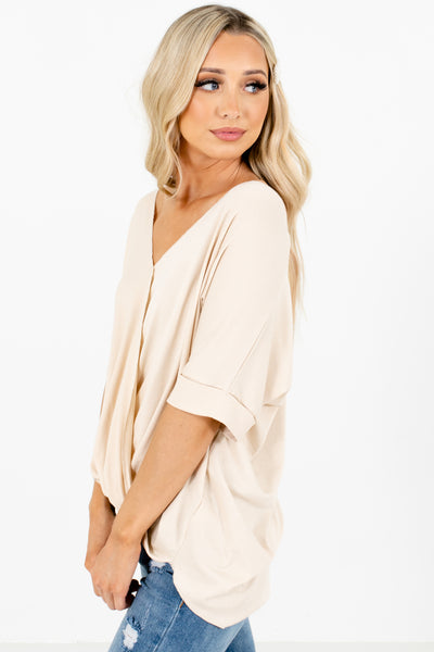 Women's Beige Short Sleeve Boutique Blouse