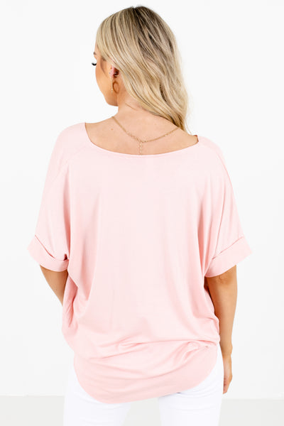 Pink Cuffed Sleeve Boutique Blouses for Women