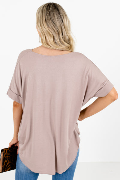 Women's Brown High-Low Hem Boutique Blouse