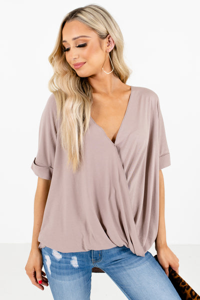 Brown V-Neckline Boutique Blouses for Women
