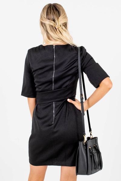 Women's Black Back Zipper Boutique Mini Dresses