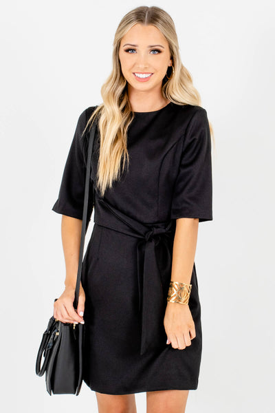 Black Waist Tie Detail Boutique Mini Dresses for Women