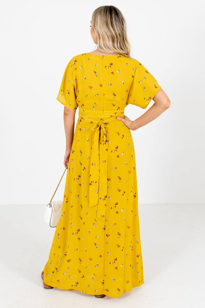 Women's Mustard Yellow Deep V-Neckline Boutique Maxi Dress
