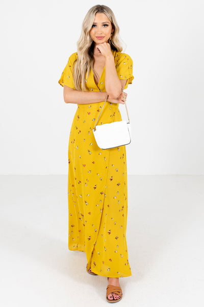 Mustard Yellow Women's High-Quality Boutique Maxi Dress