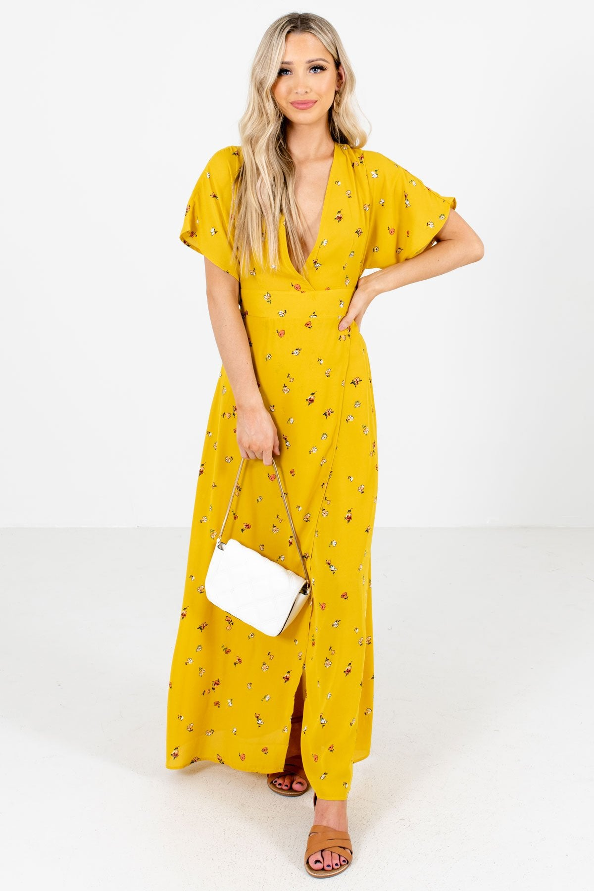 Mustard Yellow Faux Wrap Style Boutique Maxi Dresses for Women