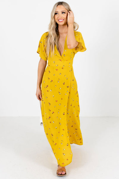 Mustard Yellow Cute Everyday Boutique Maxi Dress
