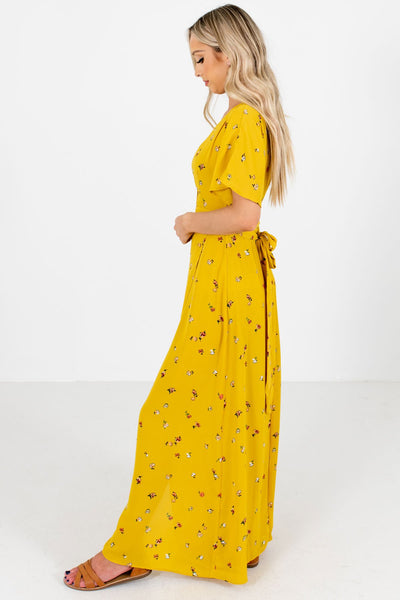 Mustard Yellow Lightweight Flowy Boutique Maxi Dresses for Women