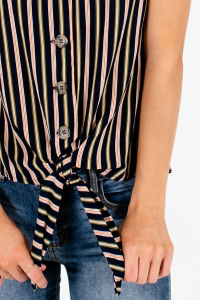 Navy Olive and Rust Striped Affordable Online Boutique Clothing for Women