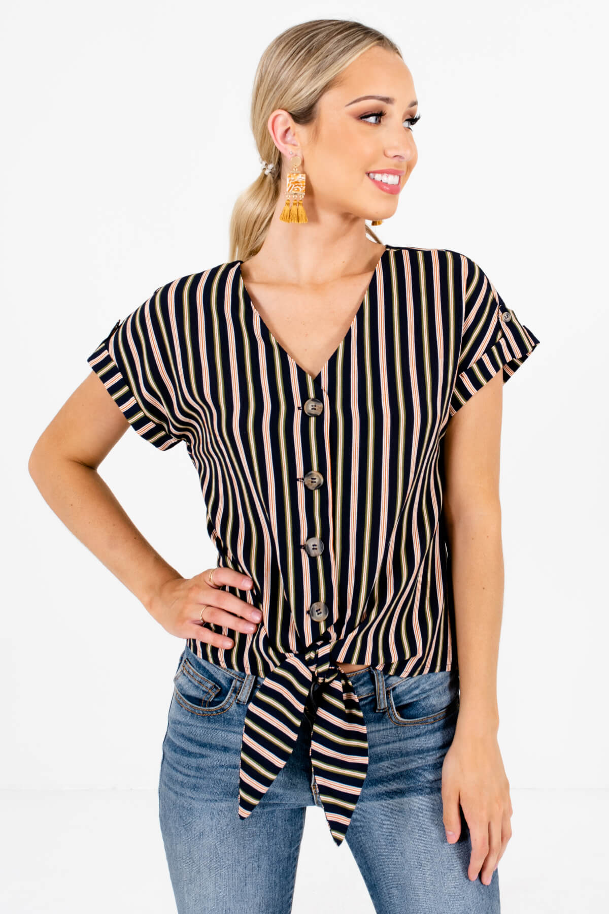 Navy Olive and Rust Striped Boutique Button-Up Tops for Women