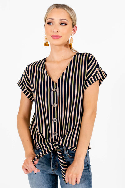 Navy Olive and Rust Striped Cute Short Sleeve Boutique Tops for Women
