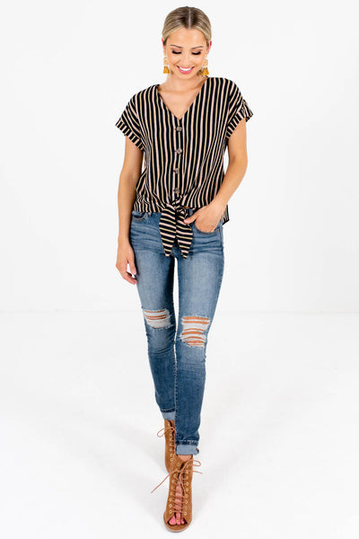 Navy Olive and Rust Striped Women's Fall and Winter Boutique Clothing
