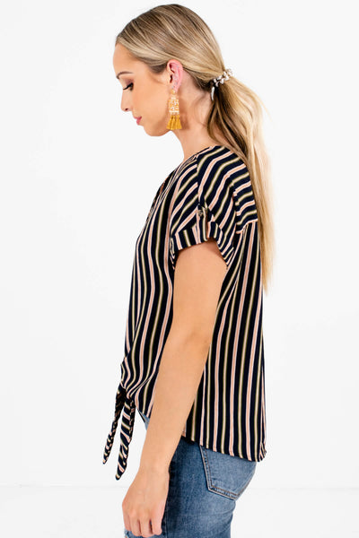 Navy Olive and Rust Striped Women's Tie Front Boutique Top