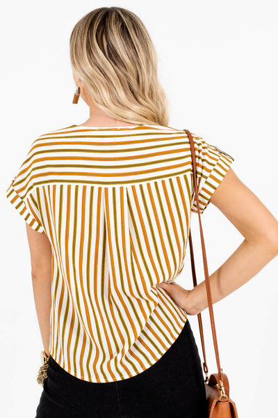 White Olive and Rust Striped Women's Tie Front Boutique Top