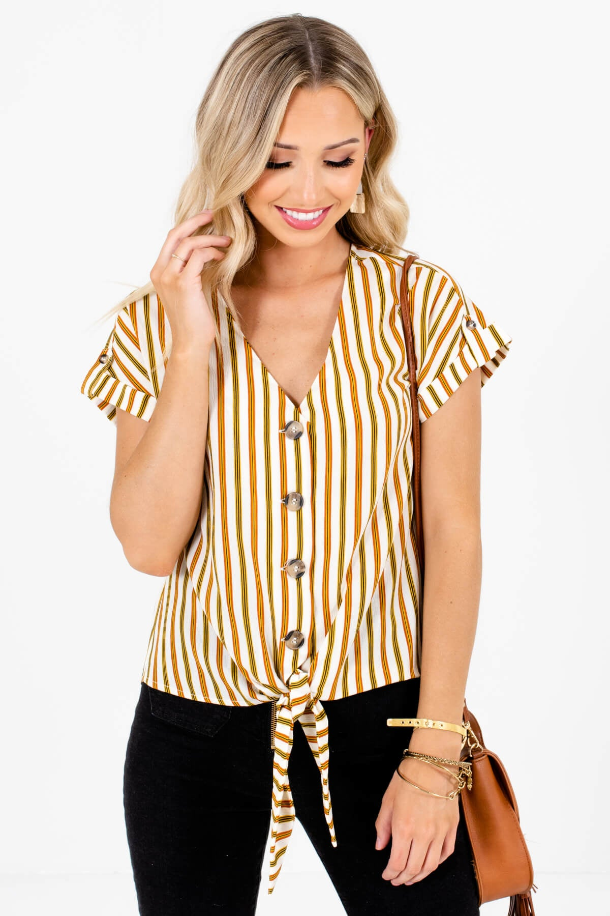White Olive and Rust Striped Boutique Button-Up Tops for Women