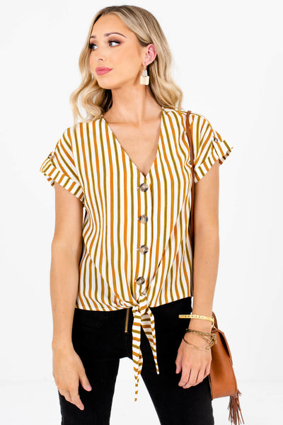 White Olive and Rust Striped Cute Short Sleeve Boutique Tops for Women