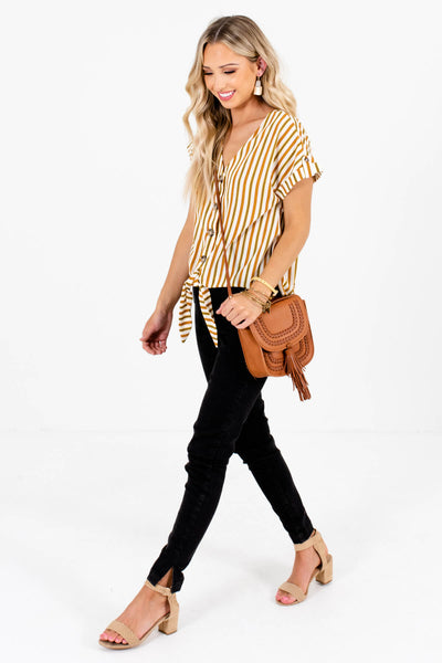 White Olive and Rust Striped Cute and Comfortable Boutique Tops for Women