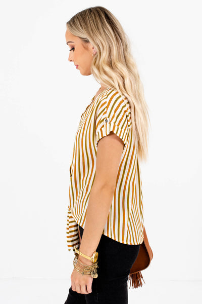 White Olive and Rust Women's V-Neckline Boutique Tops