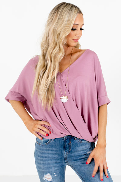 Pink Faux Wrap Style Boutique Blouses for Women