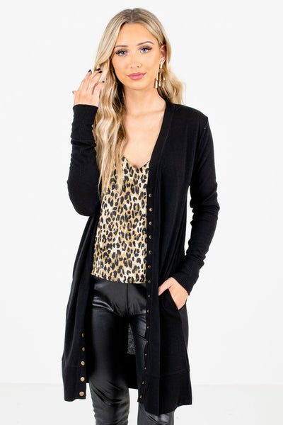Black Snap Button-Up Front Boutique Cardigans for Women
