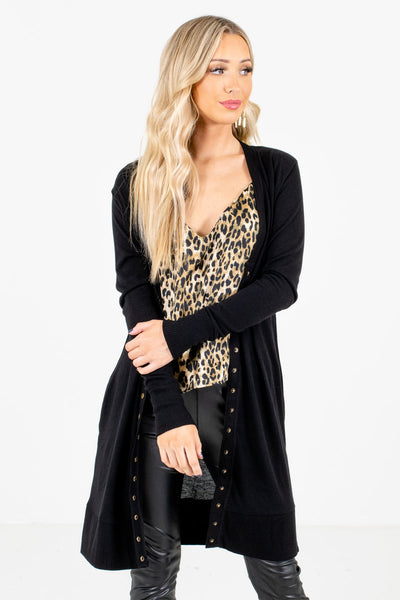 Black Boutique Cardigans with Pockets for Women