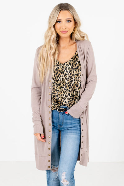 Women's Brown Longer Length Boutique Cardigan