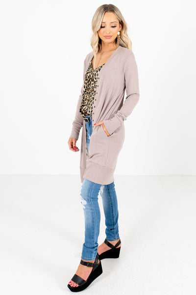 Brown Boutique Cardigans with Pockets for Women