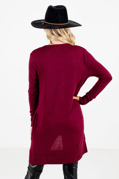 Women's Burgundy High-Quality Boutique Cardigan