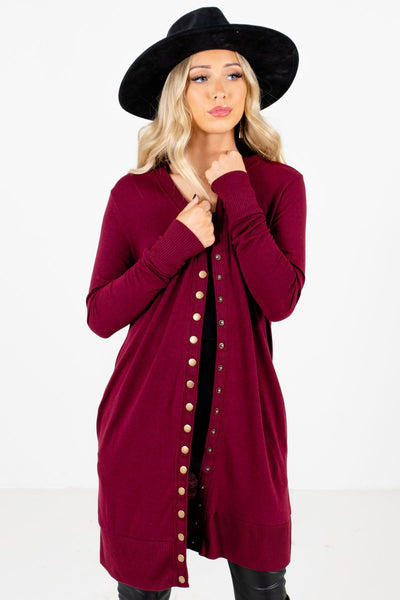 Women's Burgundy Longer Length Boutique Cardigan