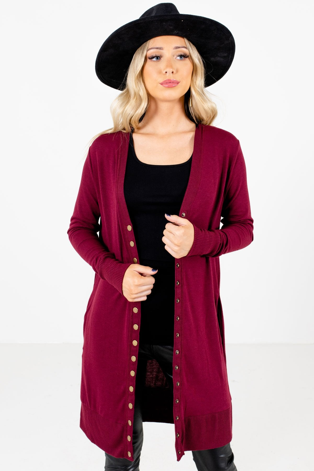 Burgundy Snap Button-Up Front Boutique Cardigans for Women