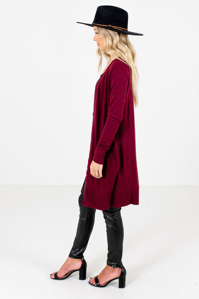 Burgundy Boutique Cardigans with Pockets for Women