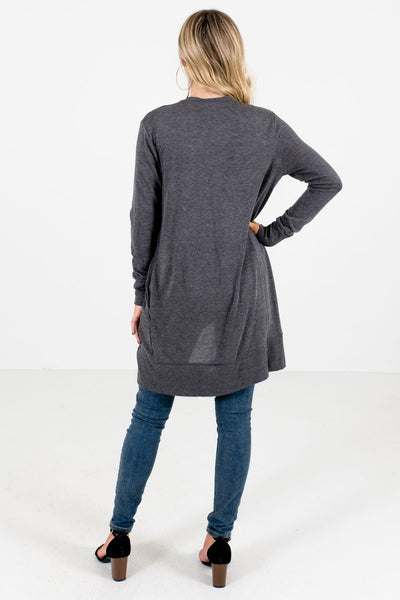 Women's Charcoal Gray High-Quality Boutique Cardigan
