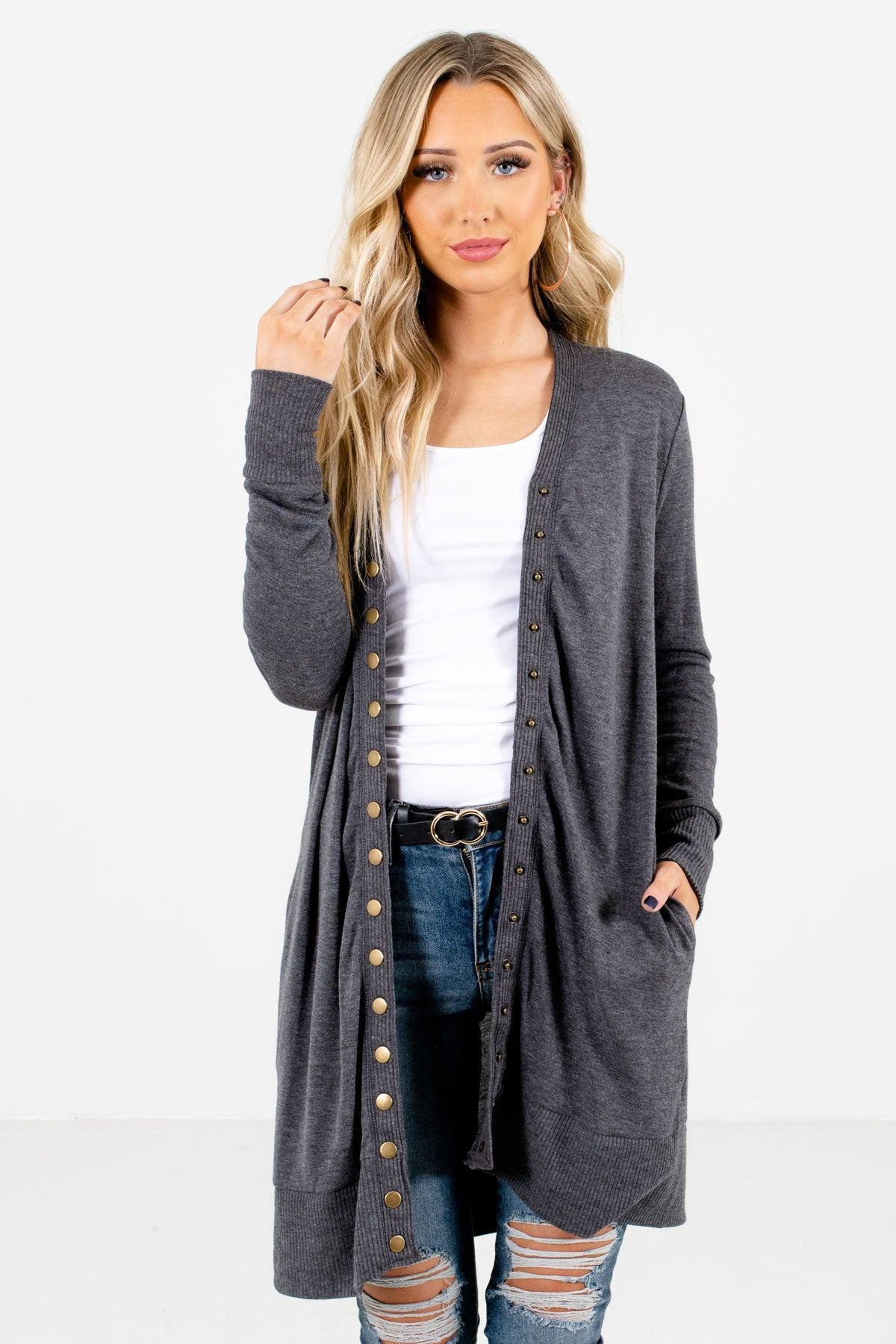Charcoal Gray Snap Button-Up Front Boutique Cardigans for Women