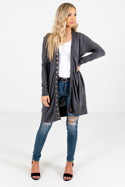 Women's Charcoal Gray Longer Length Boutique Cardigan