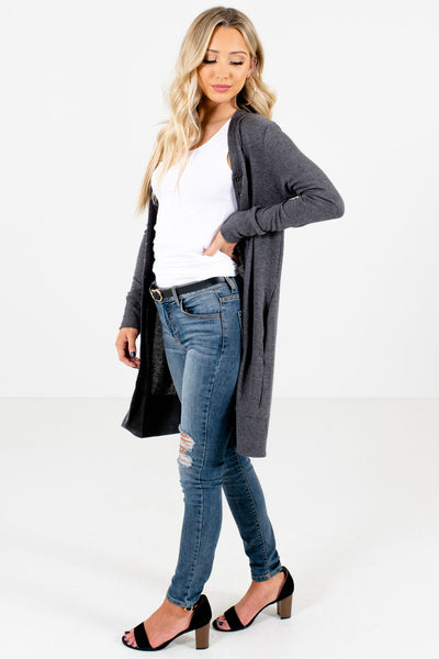 Charcoal Gray Cute and Comfortable Boutique Cardigans for Women