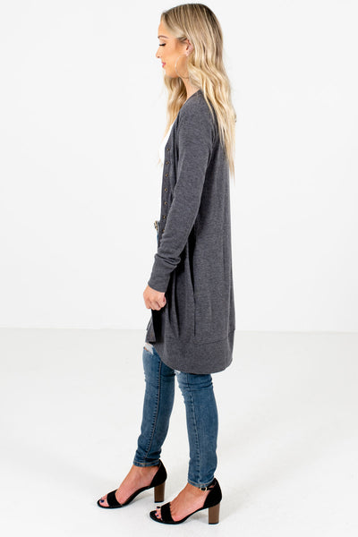Charcoal Gray Boutique Cardigans with Pockets for Women